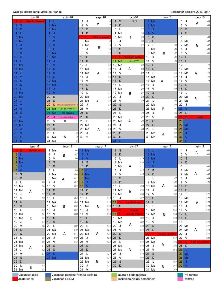Calendrier Scolaire France.Calendrier Scolaire 2016 2017 College International